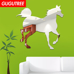 crystal mirror art Canada - Decorate Home 3D horse animal cartoon mirror art wall sticker decoration Decals mural painting Removable Decor Wallpaper G-254