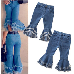 Wholesale jeans europe for sale – denim Girls Pants Europe and America Fashion Style Jeans Flared Trousers Children Toddler Baby Kids Denim Bell Bottom Boot Cut Pants