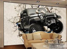 classic painted cars Canada - 3d Custom photo mural 3d wallpaper Retro luxury car broken wall decoration painting 3d wall murals wallpaper for walls 3 d Home Decor