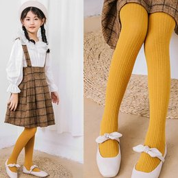 $enCountryForm.capitalKeyWord Australia - 2019 Fall new girls pantyhose kids vertical knitted tights baby girls cotton breathable leggings children mustard princess bottoms F9721