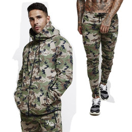 $enCountryForm.capitalKeyWord NZ - 2018 New Fashion Men Camouflage Gyms Sets Men Long-Sleeved Hoodies+pants Two-piece Male Tracksuit Men's Casual Sportswear Suits