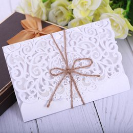 Lace White Invitation Cards NZ - New 2019 Wedding Invitation Card Hollow White,Rice Gold Lace High Qualtiy Invitations Pocket Laser Cut Wedding Invitations Cards Q113