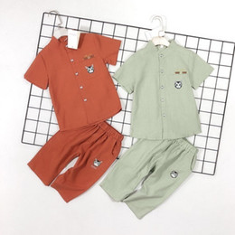 Summer Sportswear Suit Australia - newNew fashion wildest simple summer children's chest kitten heavy work printing sportswear suit