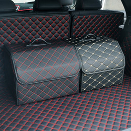 Car trunk Heavy PU leather Stowing Tidying Interior Holders Storage Basket Organizer Boot Stuff Drink Food Automobile Storage Bags
