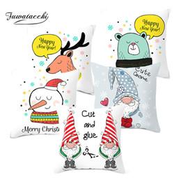 $enCountryForm.capitalKeyWord Canada - Fuwatacchi Christmas Day Pillow Cover Deer Cushion Cover Animals Throw Pillowcase for Home Sofa Decorative Pillows 45*45cm