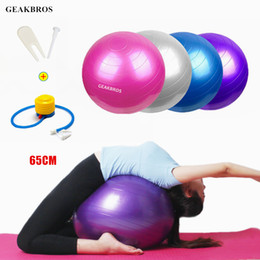 Wholesale 65cm Yoga Balls Sports Fitness Balls Bola Pilates Gym Balance Sport Fitball With Pump Exercise Pilates Workout Massage Ball
