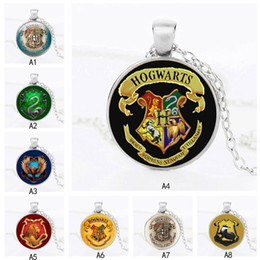 harry glasses Australia - Film Harry Magic School badge Statement Necklaces Time Gem Glass Cabochon pendant chain For women Men movie Fans Jewelry Gift