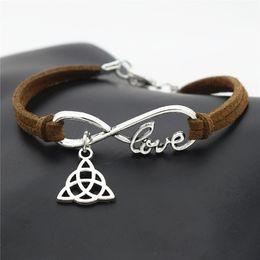 $enCountryForm.capitalKeyWord Australia - Fashion Minimalist Silver Infinity Love Triangle Triquetra Symbol Trinity Knot Pendants Bracelets Women Men Dark Brown Leather Suede Jewelry