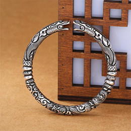 $enCountryForm.capitalKeyWord NZ - New Exquisite Ssangyong Pley Beads Bracelets 925 Sterling Silver Jewelry Double Dragon Means Good Luck Bangles SB203