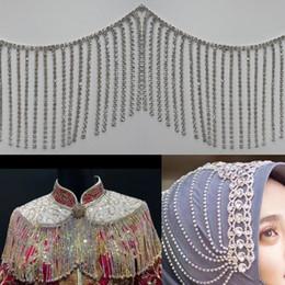 Chain Trim Yard Australia - 1 Yard 8cm Rhinestone Tassel Fringe Trim Ribbon Silver Crystal Chain Bridal Sash Belt Sewing on Wedding Dress Clothes Handicraft