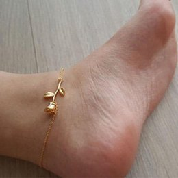 Flower anklets online shopping - Gold Silver Color Women Simple Anklets Jewelry Rose Flower Anklets Summer Beach Fashion Jewelry Bracelet Barefoot Sandals