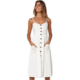$enCountryForm.capitalKeyWord Australia - Dress Summer Women Sexy Striped Pocket White Vintage Dress Female Elegant Bohemian Beach Party Dresses Plus Size Vestido designer clothes