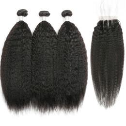 EuropEan hair ExtEnsions online shopping - European Human Hair Bundles With Closure x4 Closure With Bundles Kinky Straight Hair Bundles With Closure Remy Hair Extension Beyo