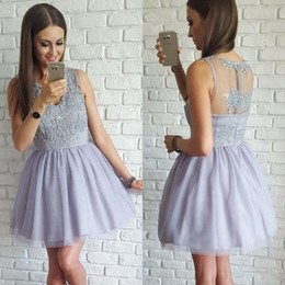 White short dress prom online shopping - Hot Sale Zipper Sheer Back Homecoming Dresses with Lace Applique V Neck Cocktail Party Gowns Mini Short Prom Dress