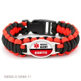 $enCountryForm.capitalKeyWord Australia - BOAKO Diabetic Type 1 2 Medical Alert Red Black Glass Cabochon Outdoor Survival Paracord Charm Bracelets Men Women Jewelry X7-M2