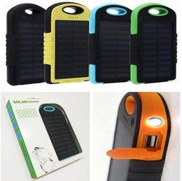 5000 mAh fonte de energia solar Carregador Portátil Dual USB LED Lanterna Bateria painel solar à prova d 'água de telefone Celular banco de potência para Celular MP3 DHL em Promoção
