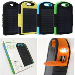 Wholesale 5000mAh solar power Charger Portable source Dual USB LED Flashlight Battery solar panel waterproof Cell phone power bank for Mobile MP3 DHL