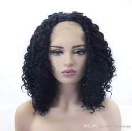 Black Wigs Highlights Australia - Fast Shipping 14inch Afro Kinky Curly Wigs Middle Part Heat Resistant Hair Black Highlight Women Makeup Synthetic Lace Front Party Wigs