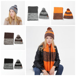 wholesale ski suits Australia - Autumn and Winter Outdoor Warm Beanies Hat Skiing Sport Windproof Cap Knited Hat Scarf Two-piece Suit Party Skull Hats Gift ZZA911