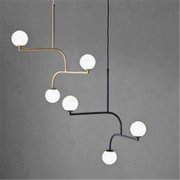 Chandeliers Ceiling Lights & Fans Italian Design Swing Arm Glass Ball Chandelier Lighting For Kitchen Bar Modern Hanging Lamp Living Room Decoration Light Fixture
