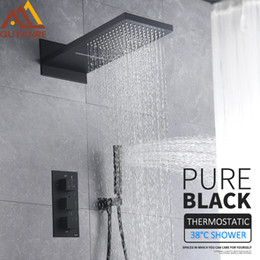 ElEctric taps online shopping - And Retail Thermostatic Shower Faucets Set Rain Waterfall Shower Head With way Thermostatic Mixer Tap Bath Shower Faucet
