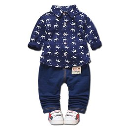 4500b6ba0268b7 2019 New Baby Clothing Spring Autumn Kids Long Sleeve Casual Leisure Sports  Suits Lapel Crown Shirt Pants 2pcs Sets Boys Clothes