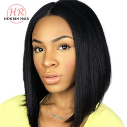 Discount virgin hair hairlines - Honrin Hair 360 Lace Wig Short Bob Peruvian Virgin Human Hair Pre Plucked Hairline Bleached Knots 150% Density With Baby
