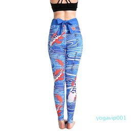 pattern yoga pants Australia - Carp Pattern Women's High Waist Yoga Pants Slim Leggings Sports Tight Pants for Fitness Running High Elastic
