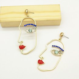 $enCountryForm.capitalKeyWord Australia - Unique Blue Crystal Human Face Earrings For Women Party Charm Jewelry Funny Abstract Art Hollow Gold Color Alloy Figure Earings