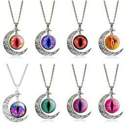 platinum chain snake men UK - Men and women retro moon time gemstone eyes pupil ornament DJN183 mix order Pendant Necklaces jewelry