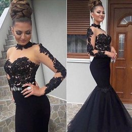 TrumpeT prom dress peplum online shopping - Formal Prom Dresses Sexy See Through Tulle Mermaid Long Evening Dress Robe De Soiree Appliques Long Sleeve Pageant Gowns