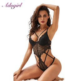 women lace bandage jumpsuit UK - Sexy Women Black Push Up Bandage Lace Bodysuit With Cups Hollow Out Backless Outfit Jumpsuit Rompers Female Body Tops Cothes Y200701