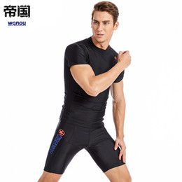 shorts tights set NZ - Men Rash Guards Set Lycra Tight Beach Shirt Short Trunk Quick Dry Swimsuit Surf Sunscreen Anti UV Rashguard Diving Suit