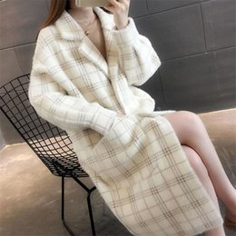 $enCountryForm.capitalKeyWord Australia - 2019 Fashion Plaid Women Slim Faux Mink Cashmere Jacket Ladies Fleece Imitation Coat Female Knit Sweater Cardigan Outerwear R16