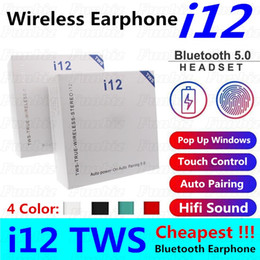 cheap bluetooth headphone NZ - i12 tws bluetooth 5.0 headphone wireless earphones support pop up windows colorful touch control headset auto pairing earpieces Cheap