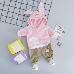 Winter Baby Suit Designs Australia - Baby Girl Boy Clothing Sets Spring Autumn Infant Clothes Suits Rabbit Ears Pocket Design Tops Pants Casual Children Kids Costume