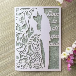 Bride Groom Dress Wedding Card Australia - 20PCS  lot Bride And Groom Romantic Wedding Invitations Cards Decorations With Love Is All You Need Fancy Dress Party Invitations Supplies