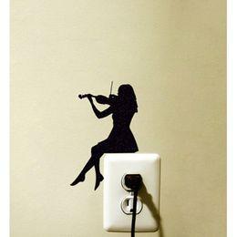 $enCountryForm.capitalKeyWord NZ - Violin Girl Switch Sticker Decoration Vinyl Wall Decal Room Home Decoration