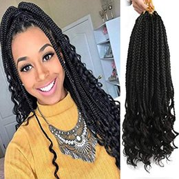 $enCountryForm.capitalKeyWord Australia - Black Box Braids Hair Ends Ombre Brown Kanekalon Loose Wave Synthetic 18 Inch Box Hair For Braid 22 Strands pcs Braiding Hair Extensions