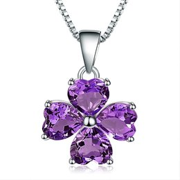 ballet necklaces Canada - Gem's Ballet 3.31Ct Natural Amethyst Gemstone 925 Sterling Silver Clover Pendant Necklace Fine Jewelry For Women Wedding