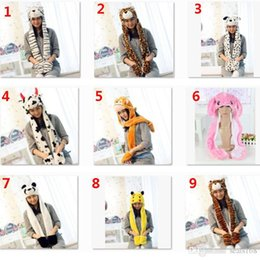 Pikachu Woman Costume Australia - New Cartoon Animal Plush Scarves Hats Pikachu Winter Women Children Costume Hats Cap With Long Scarf Gloves Earmuffs Christmas Hat SHH7-1926