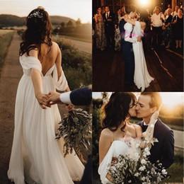 $enCountryForm.capitalKeyWord NZ - 2019 Sexy Off The Shoulder Chiffon Wedding Dresses Floor Length Backless Simple Boho Pleats A Line Plus Size Wedding Gowns For Bride