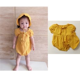 $enCountryForm.capitalKeyWord Australia - Infant Baby Girls Blank Rompers With Hat 2pcs Set Solid Yellow 100% Cotton Soft Quality Front Tie Round Neck Newborn Jumpsuits Onesie 0-2T