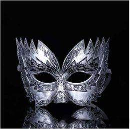 $enCountryForm.capitalKeyWord Australia - Roman Soldier Male Filigree Laser Cut Men Venetian Masquerade Eye Masks Party Halloween Cosplay Wedding Mardi Gras Ball Masks