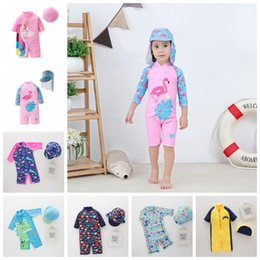 eebd4c0da2 Top quality baby girls boys swimsuit 2-7 years children bathing suit kids  one-piece beach clothes with caps fish unicorn shark cartoon style