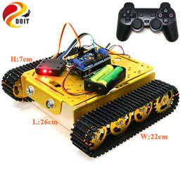 tank motor Canada - PS2 Joystick Control Smart Robot Tank Chassis with Dual DC 9V Motor+Control Board+Motor Driver Board for Arduino T200
