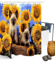 Sunflower curtainS online shopping - Sunflower Field Funny Cat Polyester Waterproof Fabric Shower Curtain Set Hooks