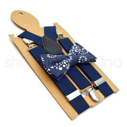 Children Adjustable Lattice Suspenders Fashion Baby Solid Colors Braces Kids Strap Clip With Colorful Bow Tie TTA1327--1 on Sale