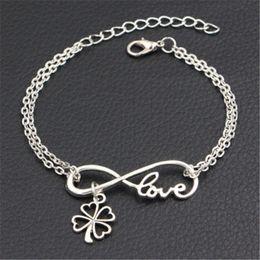 $enCountryForm.capitalKeyWord Australia - Silver Color Double Infinity Love Clover Heart Pendant Bracelets Bangles Bohemian Metal Link Chain Adjustable Statement Jewelry Summer Gifts