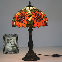 vintage sunflowers 2019 - Glass Art Sunflowers Table Lamp For Living Room Bedroom Bedside Table Lamp Sunflower Stained Glass Light Fixtures Decor